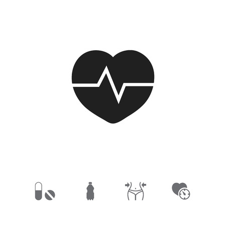clock: Set Of 5 Editable Fitness Icons. Includes Symbols Such As Slimming, Heartbeat, Sport Water And More Illustration
