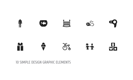 Set Of 10 Editable Folks Icons. Includes Symbols Such As Velocipede, Ancestor, Blocks And More Ilustração