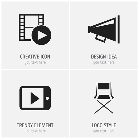 camera film: Set Of 4 Editable Cinema Icons. Includes Symbols Such As Record, Tablet Play, Loudspeaker And More Illustration
