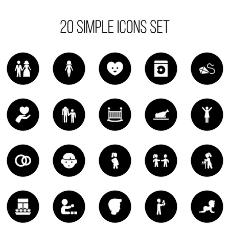 Set Of 20 Editable Folks Icons. Includes Symbols Such As Mother With Baby, Happy Lady, Flying And More