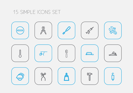 Set Of 15 Editable Equipment Outline Icons. Includes Symbols Such As Honey Stick, Vice, Plane And More
