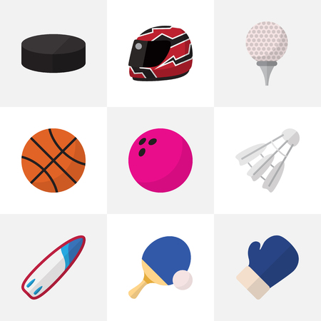 Set Of 9 Editable Lifestyle Flat Icons. Includes Symbols Such As Tennis, Fighting, Kegling And More Illustration
