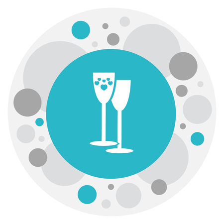 Vector Illustration Of Heart Symbol On Wineglasses Icon