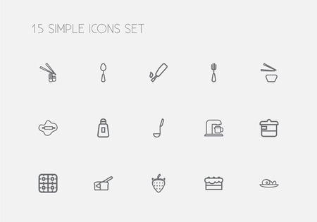 Set Of 15 Editable Food Outline Icons. Includes Symbols Such As Salt, Silverware, Tablespoon And More