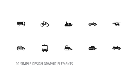 Set Of 10 Editable Transport Icons. Includes Symbols Such As Transportation, Ship, Tanker And More Illustration