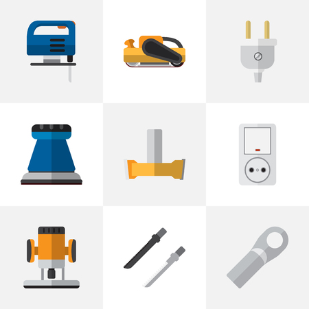 Set Of 9 Editable Electrical Flat Icons