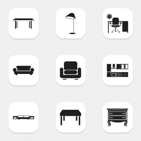 Set Of 9 Editable Furniture Icons