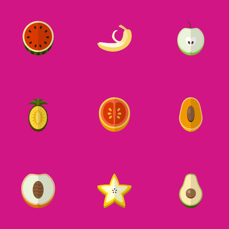 Set Of 9 Editable Dessert Flat Icons. Includes Symbols Such As Jungle Fruit, Starfruit, Ananas And More.