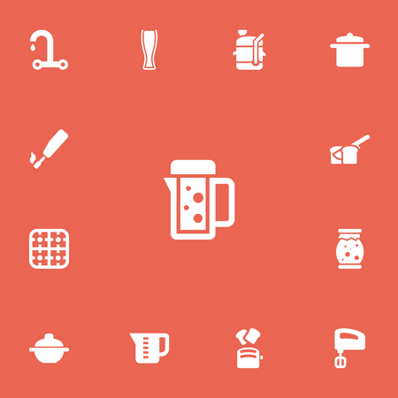 Set Of 13 Editable Cook Icons. Includes Symbols Such As Thermo Mug, Squeezer, Mensural And More. Can Be Used For Web, Mobile, UI And Infographic Design. Illustration