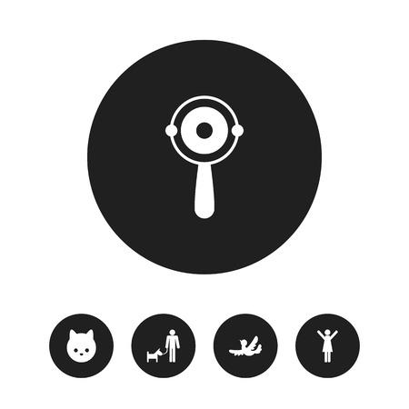 Ensemble de 5 icônes Kin modifiables. Comprend des symboles tels que hochet, chatte, moineau, etc. Peut être utilisé pour la conception Web, mobile, UI et infographique. Banque d'images - 88026871