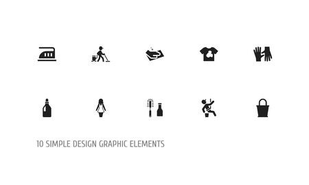 Set Of 10 Editable Cleanup Icons. Illustration