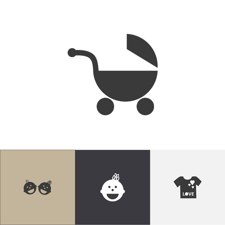 Set Of 4 Editable Infant Icons. Includes Symbols Such As Young Fashion, Stroller, Twins Babies And More. Can Be Used For Web, Mobile, UI And Infographic Design.