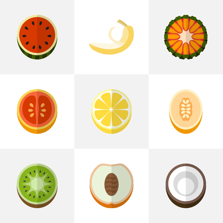set of 9 editable berry flat icons includes symbols such as