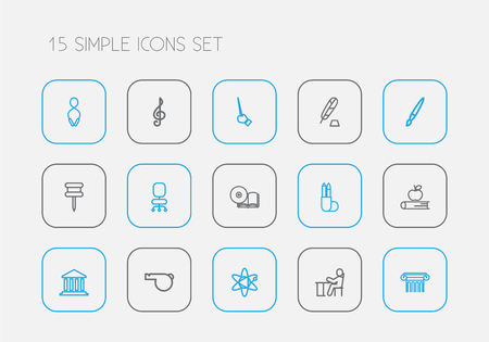 Set Of 15 Editable Science Outline Icons.