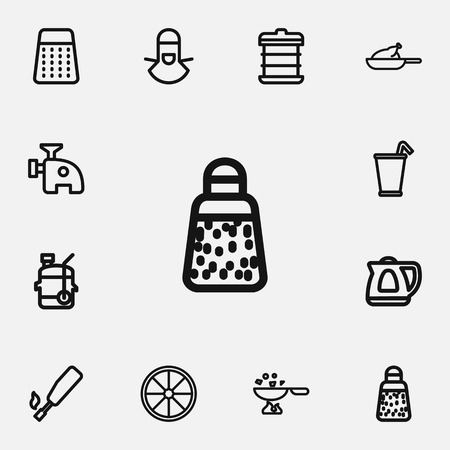 Set Of 12 Editable Food Outline Icons.