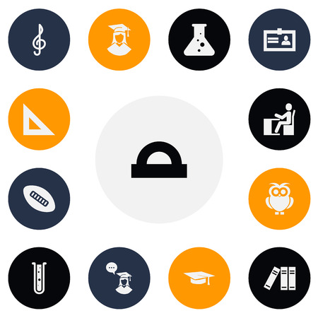 Set Of 13 Editable Teach Icons. Includes Symbols Such As Semicircle Ruler, Chemistry, Flask And More. Can Be Used For Web, Mobile, UI And Infographic Design.
