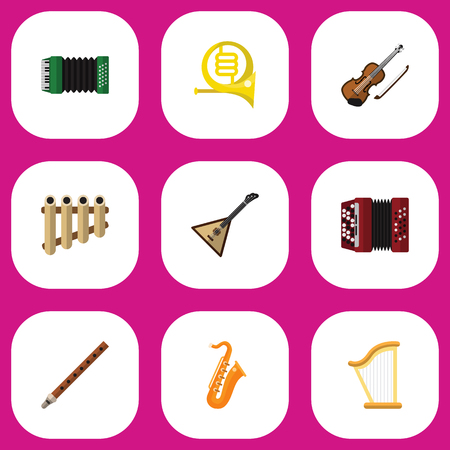 Set Of 9 Editable Sound Flat Icons. Includes Symbols Such As Zither, Accordion, Flute And More. Can Be Used For Web, Mobile, UI And Infographic Design.