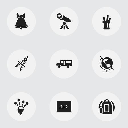 Set van 9 bewerkbare school iconen.
