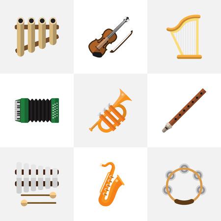 Conjunto de 9 iconos planos de sonido editable. Incluye símbolos como Timbrel, Sticks, Fife y más.