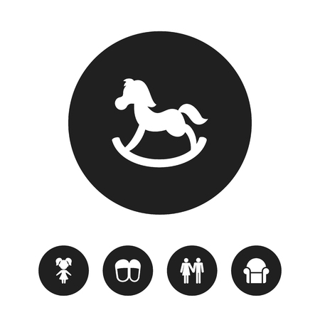 Set Of 5 Editable Folks Icons. Includes Symbols Such As Couple, Girl, Pony And More Imagens - 88250854