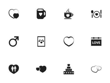 Set Of 12 Editable Amour Icons. Includes Symbols Such As Romance, Shape, Pastry And More Illustration