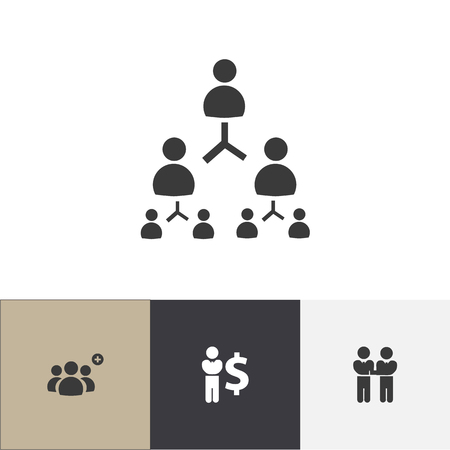 Set of 4 editable cooperation icons. Includes symbols such as agreement, finance director, corporate and more. Vector Illustration