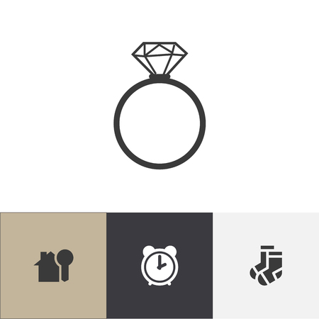Set of 4 editable kin icons. Includes symbols such as hosiery, house key, solitaire diamond and more. Illustration