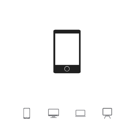 Set of 5 editable devices icons. Includes symbols such as tv, screen, telephone and more.