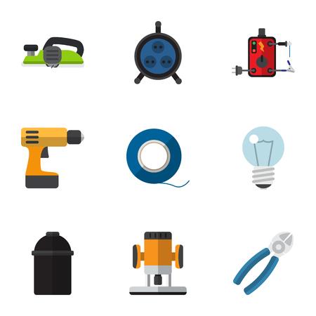 Set di 9 icone piatte elettriche modificabili. Include simboli come supporto, presa, pinza e altro Archivio Fotografico - 88251115