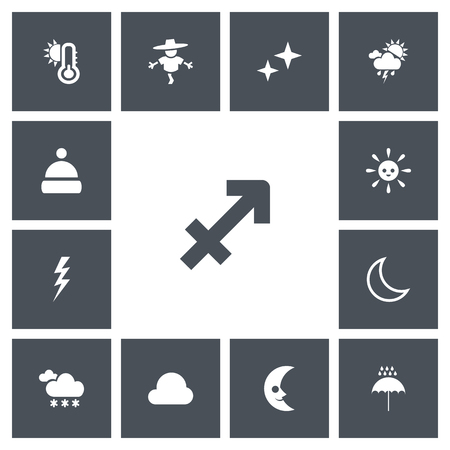 Set Of 13 Editable Weather Icons. Includes Symbols Such As Hot, Cloudburst, Smile Lunar And More Illustration