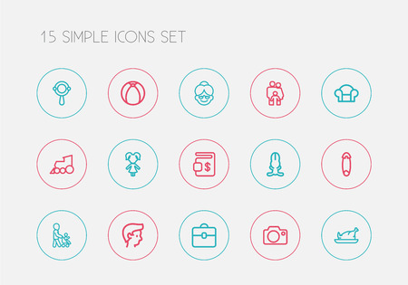 Set Of 15 Editable Folks Outline Icons. Includes Symbols Such As Boy, Bunny, Grandson