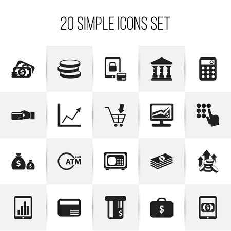 Set Of 20 Editable Financial Icons. Includes Symbols Such As Payment, Salary, Safe And More