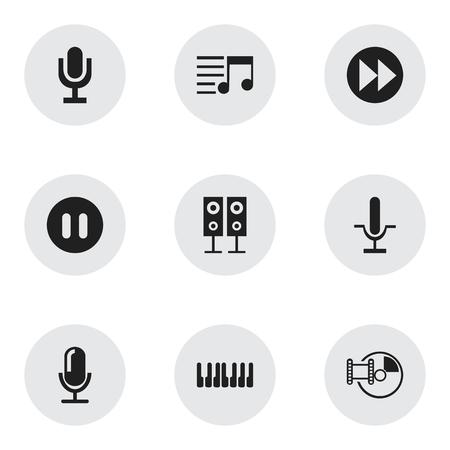 9 編集可能なマルチ メディア アイコンのセットです。メモリ、オクターブなどメディアのインタビューなどの記号が含まれています