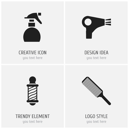coiffeur: Set Of 4 Editable Barber Icons. Includes Symbols Such As Spreader, Beautician, Desiccator And More