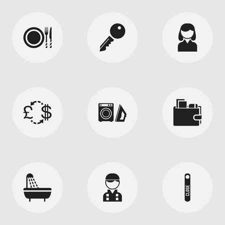 etiquette voyage: Set Of 9 Editable Motel Icons. Includes Symbols Such As Currency, Tableware, Laundromat And More