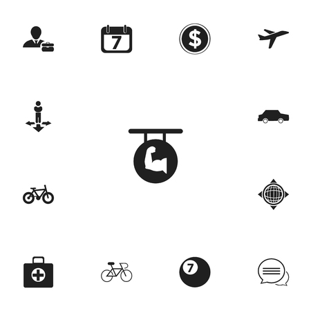 Set Of 13 Editable Mixed Icons. Includes Symbols Such As Car, Biceps, Bicycle And More Illustration