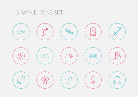 Set Of 15 Editable Weather Outline Icons. Includes Symbols Such As Archer, Lunar, Rainbow And More
