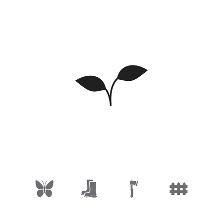 Set Of 5 Editable Gardening Icons. Includes Symbols Such As Monarch, Waterproof Shoes, Seedling And More