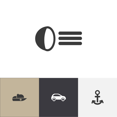 Set Of 4 Editable Transportation Icons. Includes Symbols Such As Vessel, Hatchback, Luminary And More Illustration