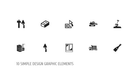 Set Of 10 Editable Structure Icons. Includes Symbols Such As Brick, Mule, Shovel And More