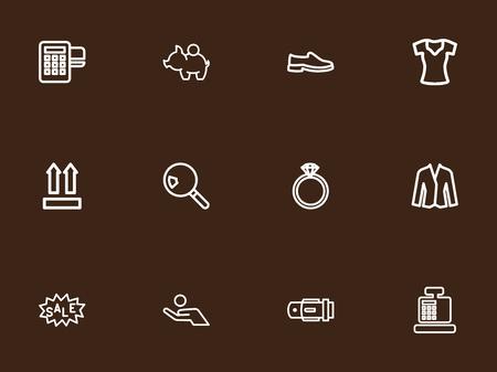 12 編集可能な貿易概要アイコンをセットします。女性 t シャツ、ブタのお金などの記号が含まれていますまでより。Web、モバイル、UI、インフォ グ  イラスト・ベクター素材