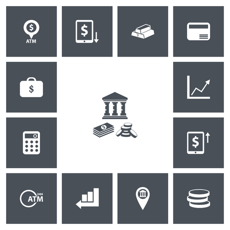 Set Of 13 Editable Financial Icons. Includes Symbols Such As Decrease, Calculator, Gold And More. Can Be Used For Web, Mobile, UI And Infographic Design.
