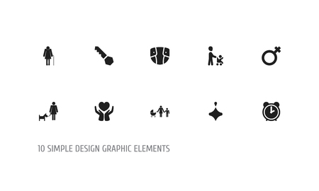 Set Of 10 Editable Family Icons. Includes Symbols Such As Perambulator, Save Love, Old Woman And More. Can Be Used For Web, Mobile, UI And Infographic Design. Illustration