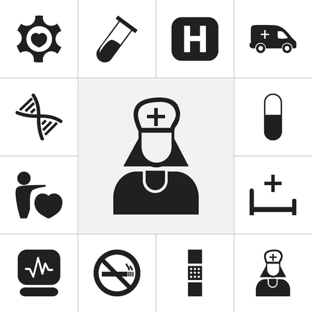 Set Of 12 Editable Health Icons. Includes Symbols Such As Drug, Wound Band, Emergency. Can Be Used For Web, Mobile, UI And Infographic Design.