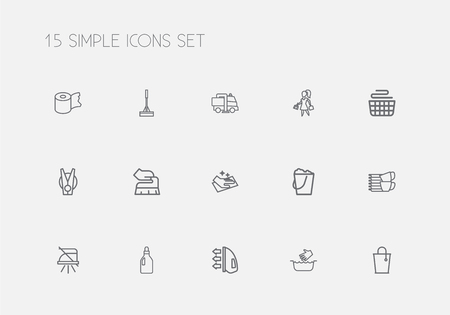 Set Of 15 Editable Hygiene Outline Icons. Includes Symbols Such As Swob, Pile, Wiping And More. Can Be Used For Web, Mobile, UI And Infographic Design. Illustration