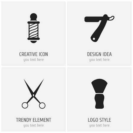 curler: Set Of 4 Editable Barbershop Icons. Includes Symbols Such As Knife, Beautician, Clippers And More. Can Be Used For Web, Mobile, UI And Infographic Design.