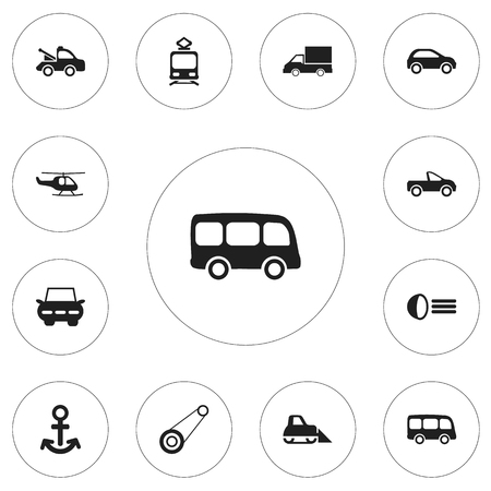 Set pf 12 editable transportation icons. Includes symbols such as camion, tour bus, auto and more.