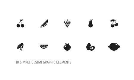 Set Of 10 Editable Dessert Icons. Includes Symbols Such As Delicious, Papaya, Allium And More