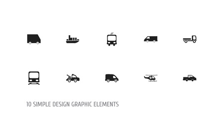 Set Of 10 Editable Shipment Icons. Includes Symbols Such As Haulage, Wagon, Delivery And More. Can Be Used For Web, Mobile, UI And Infographic Design.
