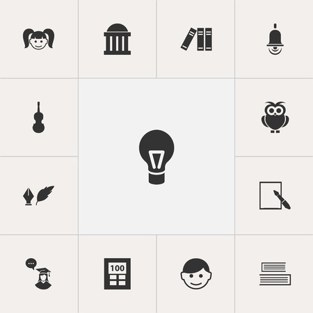 Set Of 13 Editable Science Icons. Includes Symbols Such As Calculator, Novel, Fiddle And More